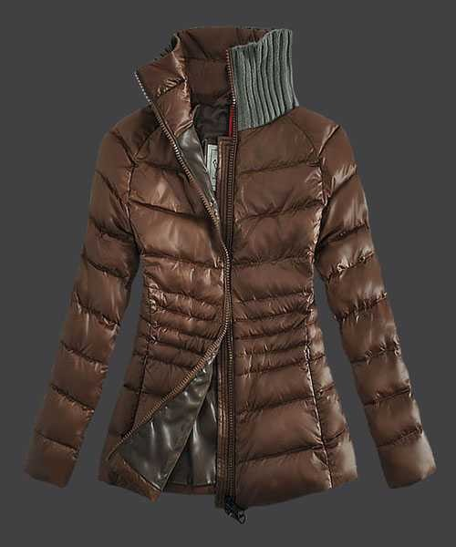 ec65eaa34 2014 New! Moncler Down Jackets For Womens Zip Stand Collar Coffee ...