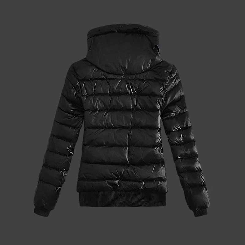 116de593ce9c4 Moncler kurtki zimowe damskie zip stanąć kołnierz czarny – Tanie ...