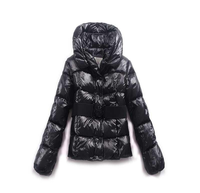 moncler dames jassen double breasted decoratieve riem zwart